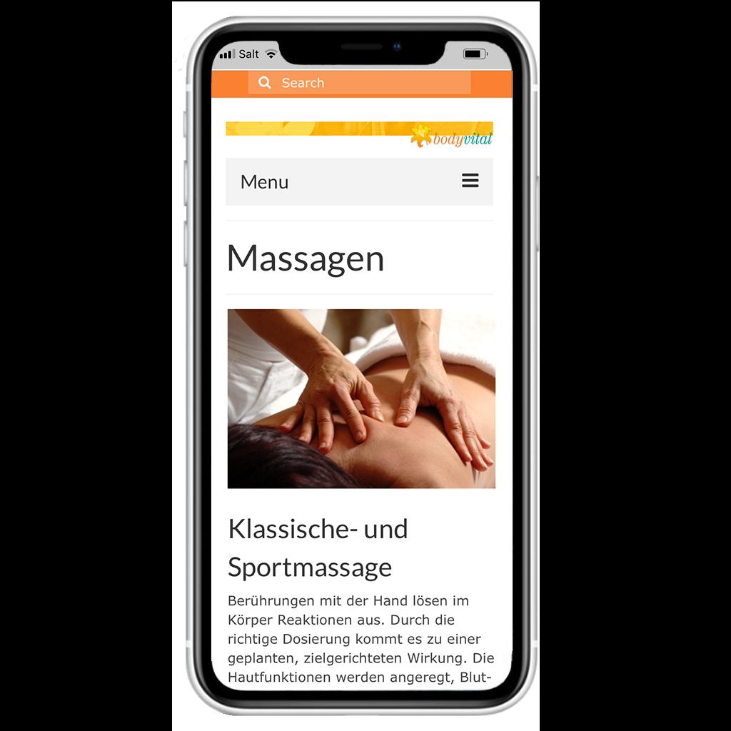 Webseite bodyvital-bielbienne.ch von Kupfertext auf iPhone dargestellt.