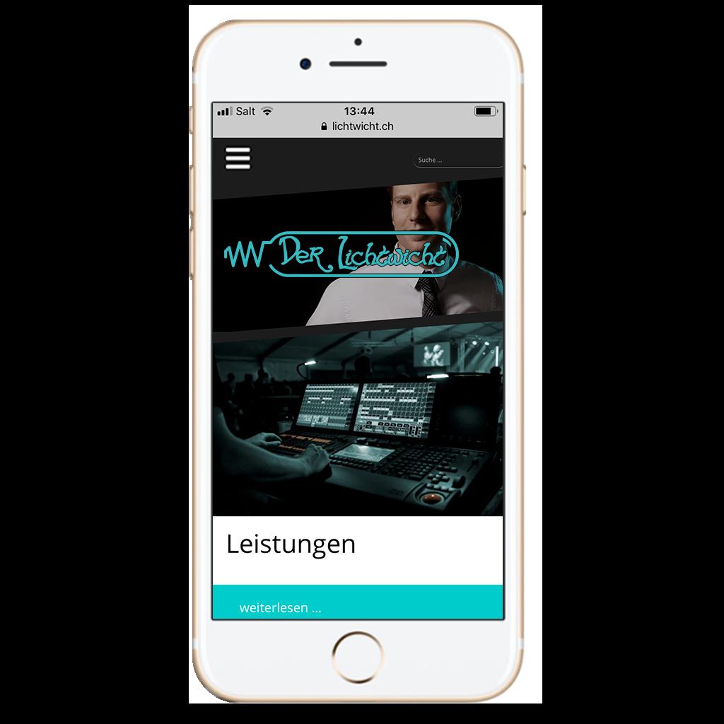 Webseite lichtwicht.ch von Kupfertext auf iPhone dargestellt.