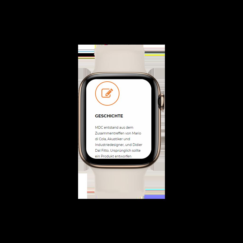 Webseite mdcaudio.ch von Kupfertext auf Applewatch dargestellt.