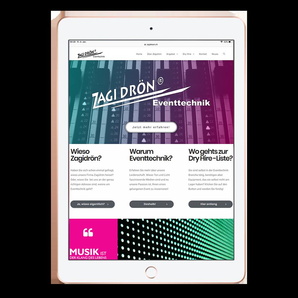 Webseite zagidroen.ch von Kupfertext auf iPad dargestellt.